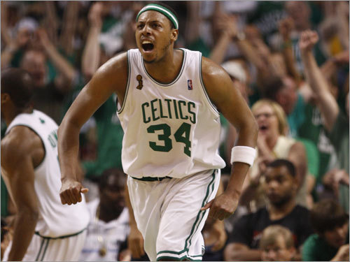 Paul Pierce screams his happiness as he runs back upcourt during the second half.