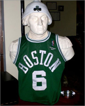 The Noonan-Maiolis of South Easton sent in this shot of a bust of George Washington, the father of our country, displaying his taste for the Celtics. Send us your Celtics tribute photos!
