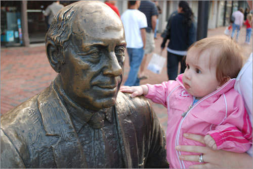 Seven-month-old Anna was in full Celtics regalia to 'meet' Red Auerbach for the first time. Send us your Celtics fan photos!