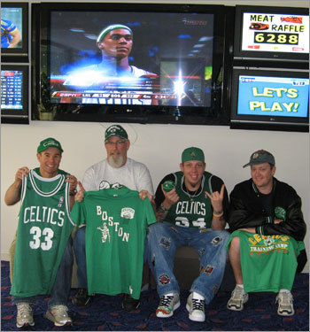 Even down under, they bleed Celtics green: four Boston fans got together on the Central Coast of Australia to cheer on the Celtics in the NBA Finals. Send us your Celtics fan photos!