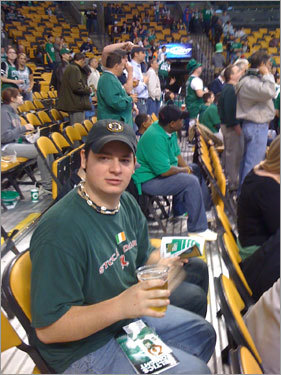 Jon may go to school in California, but he's a Boston boy at heart, and rocked his Hub apparel at the Celtics game. Send us your Celtics fan photos!