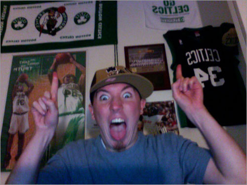 Ben, from Medway, has been practicing his KG scream. Keep practicing, Ben. Send us your Celtics fan photos!