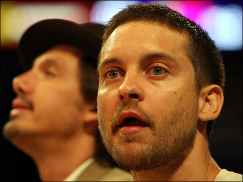 Actor Tobey Maguire looked on inside the arena before Game 3.