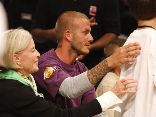 Soccer player David Beckham was on hand for Game 3 at the Staples Center.