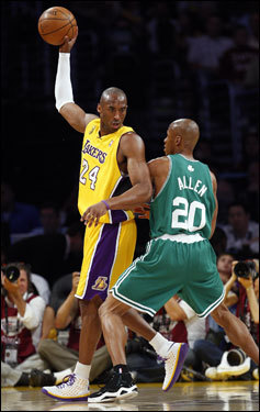 Celtics guard Ray Allen (left) defended Kobe Bryant (right) during first half action.