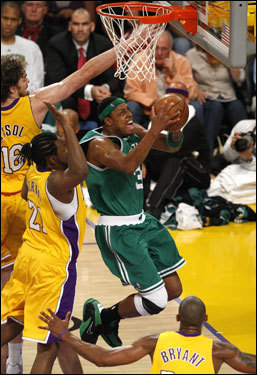Paul Pierce twisted in the lane on his way to the basket.
