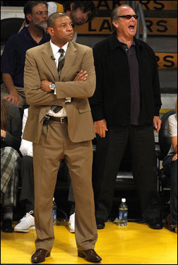 Doc Rivers looked on as actor Jack Nicholson yelled from his courtside seat.