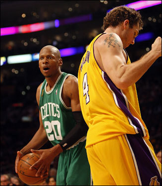 Ray Allen (left) reacted to a foul call during the second half.