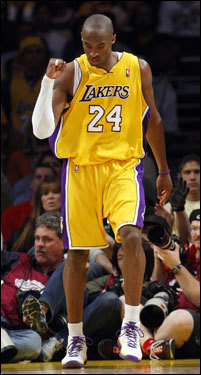 Kobe Bryant celebrated during the second half.