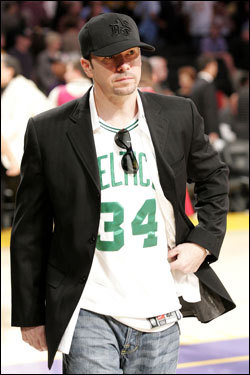 Actor and Boston native Donnie Wahlberg sported a Paul Pierce jersey on the sidelines.