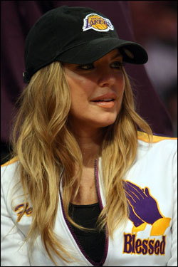 Pop singer Fergie was sitting courtside for Game 3 of the Finals.