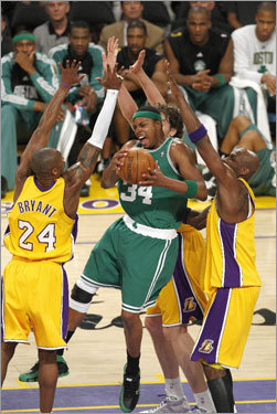Paul Pierce crashed a convention of Lakers in the first quarter, but he came away with the ball.