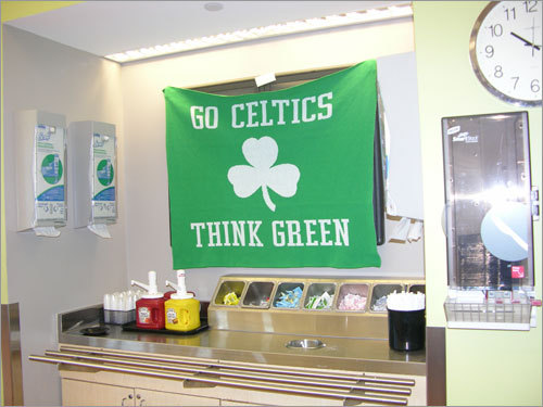 The dietary staff at Mass. Eye and Ear are reminding employees and guests to think green as they pick up their napkins and condiments. Send us your Celtics tribute photos!