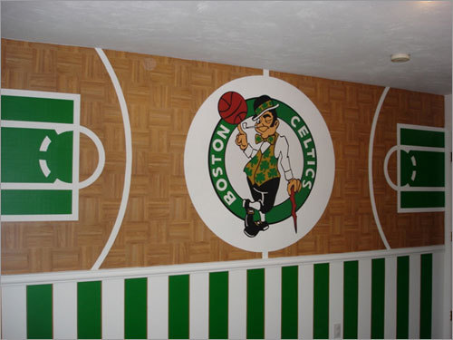 Peter recently decorated his son Logan's baby room. We think it's a nice, sensible decor. Send us your Celtics tribute photos!