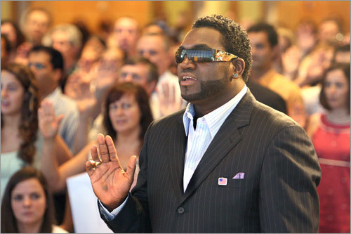 David Ortiz and 226 other immigrants became US citizens Wednesday at a ceremony at the John F. Kennedy Library in Boston.