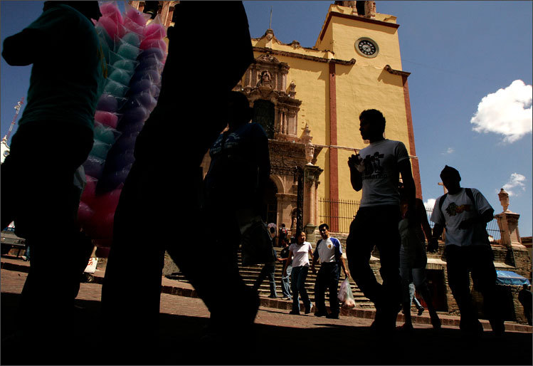 Thousands attend the Cervantino Festival in celebration of Cervantes in Guanajuato, photographed by Essdras M Suarez