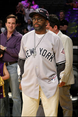 Director Spike Lee watched the Lakers warm up prior to the game.