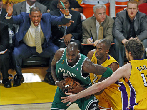 Celtics coach Doc Rivers (left) reacted as forward Kevin Garnett was stripped of the ball by Kobe Bryant. Rivers screamed for a foul, but instead picked up a technical foul moments later.