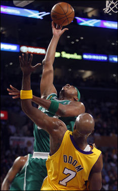 Paul Pierce laid in a basket as he was pressured by the Laker defense.