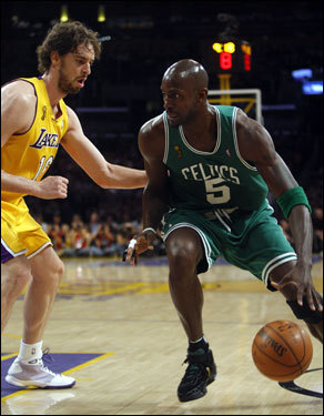 Pau Gasol (left) defended Kevin Garnett in the post. Both players were major acquisitions this year that gave their respective teams championship aspirations.