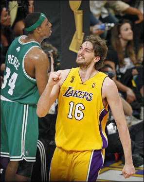 Pau Gasol reacted after hitting a shot and being fouled.