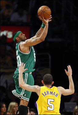 Celtics guard Eddie House shot a three pointer over Jordan Farmar in the second half. A pure shooter, House connected on 2 of 4 treys in Game 4.