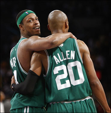 Paul Pierce (left) congratulated Ray Allen after the Celtics won Game 4 to take a 3-1 series lead over the Lakers. Allen has been the Celtics most consistent offensive option in the series, and hit the clinching layup with 16.4 seconds left. He played all 48 minutes of the victory.