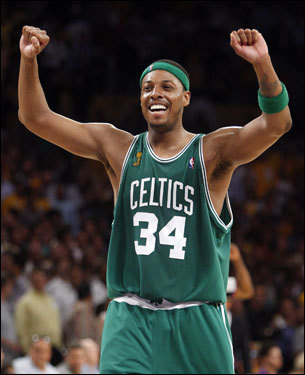Paul Pierce celebrated the Celtics' 24-point comeback victory over the Los Angeles Lakers in Game 4 of the NBA Finals. Pierce had a strong line with 20 points, 7 assists, and 4 rebounds, not to mention crucial defense on Kobe Bryant in the second half.