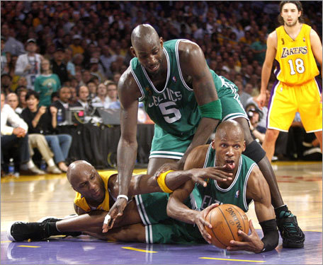 Ray Allen, Kevin Garnett and Lamar Odom battled for a loose ball in the fourth quarter. The comeback victory was an all-hands-on-deck affair with a balanced Celtics attack, including 19 points from Allen and 16 from Garnett.