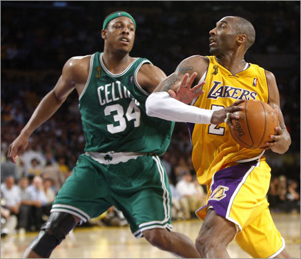Paul Pierce stayed with Kobe Bryant every step of the way on this drive. After asking Coach Doc Rivers to let him guard Bryant in the second half, Pierce got his wish and provided stingy defense on the Lakers' franchise player.