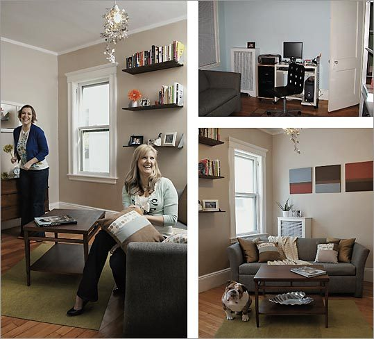 Becky Boyer, left, and Melinda Cabanilla transformed a young couple's 'catchall' room without going over budget. Cabanilla sewed the pillows; Boyer spotted the $10 coffee table. Before photo is upper right.