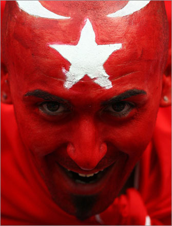 A Turkey fan showed his true colors ahead of the UEFA EURO 2008 Group A match between Portugal and Turkey at Stade de Geneve on June 7, 2008, in Geneva, Switzerland.