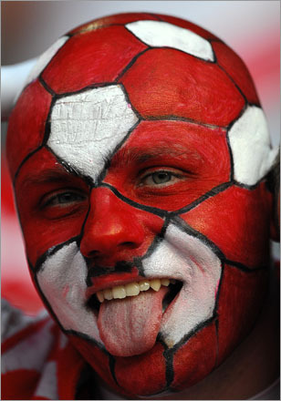 A Polish fan was having a ball before the Euro 2008 Championships Group B football match featuring Austria vs. Poland on June 12, 2008, at Ernst-Happel Stadium in Vienna.