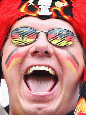 A Germany fan made some noise before the UEFA EURO 2008 Group B match between Croatia and Germany at Worthersee Stadium on June 12, 2008, in Klagenfurt, Austria.