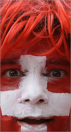 A Switzerland fan was ready for action in Basel, Switzerland, Wednesday, June 11, 2008, during the Euro 2008 European Soccer Championships.