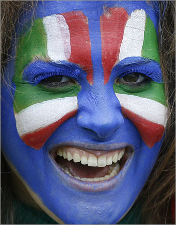 An Italian fan was all smiles prior to the group C match between Italy and Romania in Zurich, Switzerland, Friday, June 13, 2008.