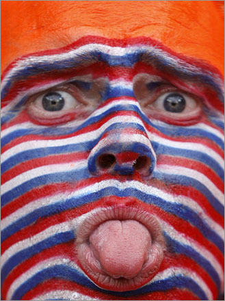 A Netherlands soccer fan clowned around before the team's Group C Euro 2008 soccer match against Italy at the Stade de Suisse Stadium in Bern June 9, 2008.