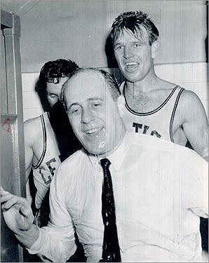 1956-1957 The Celtics' 11th NBA season marked the beginning of a sports dynasty. Led by Red Auerbach, the boys in green went on to win 11 of the next 13 championships. Auerbach traded for the draft rights of a center named Bill Russell, and chose Holy Cross's Tommy Heinsohn, who would become rookie of the year in 1956-57. In the Finals, Game 7 against the St. Louis Hawks went into double overtime, with the Celtics coming out on top, 125-123. Bob Cousy was named the league MVP, while All-NBA first teamer Bill Sharman led the league-best Celtics (44-28), averaging 21.1 points per game.