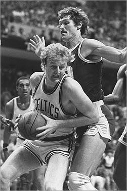 1983-1984 In coach KC Jones' first season as coach, the Celtics ran to a 62-20 record and another trophy. League MVP Larry Bird also took the honor in the NBA Finals, averaging 27.4 points and 14 rebounds in the championship series against the LA Lakers. The Finals were a tough, physical series, with two overtime games and plenty of rough play between the rivals.