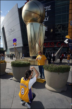 Lakers fans took photos outside of the Staples Center before Game 5 of the NBA Finals.