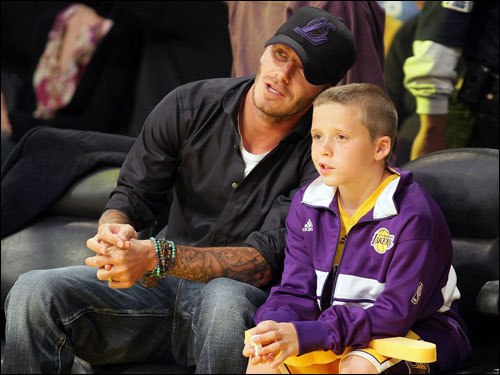 LA Galaxy soccer player David Beckham and his son, Brooklyn, attended Game 5.