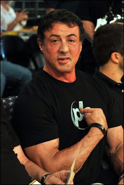 Actor Sylvester Stallone attended Game 5 of the NBA Finals.