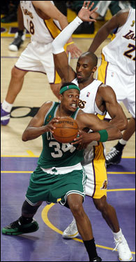 Paul Pierce (34) had his back to Kobe Bryant (24) in the post during Game 5.
