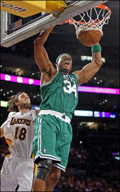 Paul Pierce (34) reacted to a dunk in the first half.