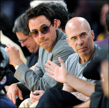 Actor Robert Downey Jr. (left) and Jeffrey Katzenberg watched the second half of Game 5.