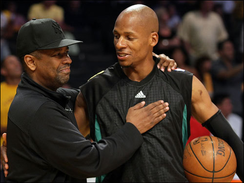 Former co-stars in 'He Got Game' Denzel Washington (left) and Ray Allen (right) shared a moment before the game.