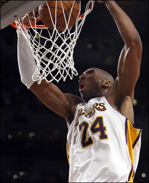 Kobe Bryant threw down a dunk late in the fourth quarter to give the Lakers a four-point lead.