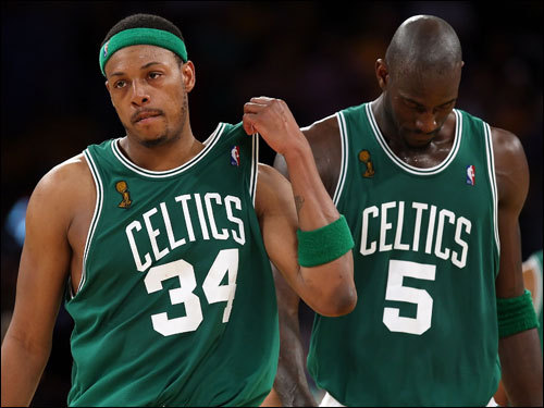 Paul Pierce (left) and Kevin Garnett (right) reacted to the Celtics going down late in Game 5.