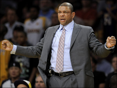 Doc Rivers reacted during the game.
