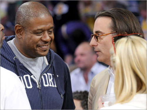 A-list actors Forest Whitaker and Andy Garcia chatted during halftime of Game 5.